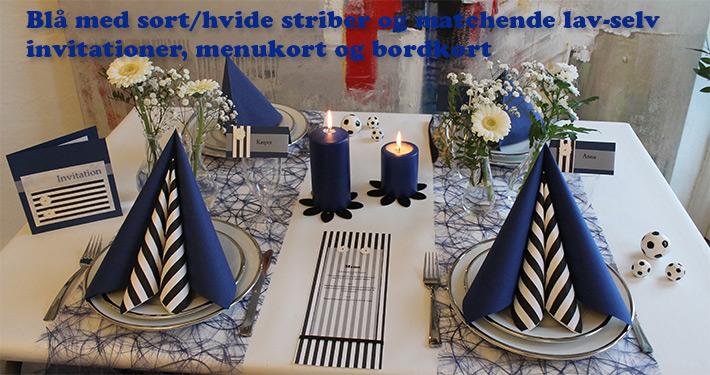 blå borddækning til konfirmation