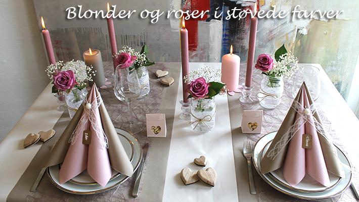 hørfarvet borddækning til bryllup