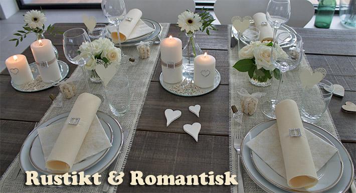 cremefarvet borddækning til bryllup