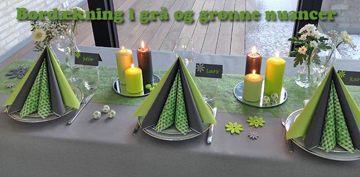 grå og grøn borddækning