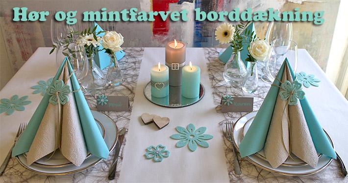 mintfarvet borddækning