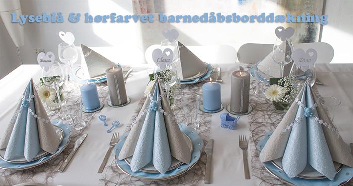 lyseblå og hørfarvet borddækning til barnedåb