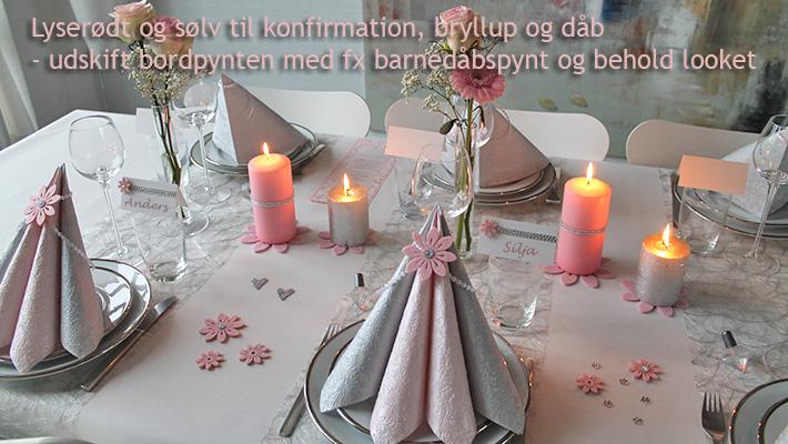 sølvfarvet borddækning til fest