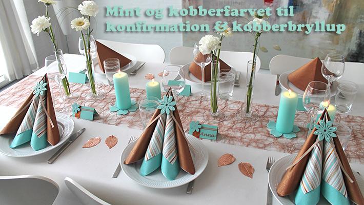 mint og kobber farvet borddækning
