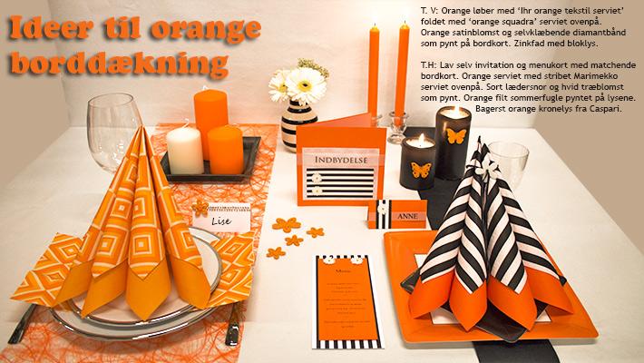 ideer til orange borddækning