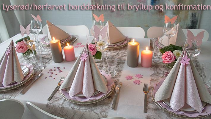 lyserød og grå borddækning bryllup og konfirmation