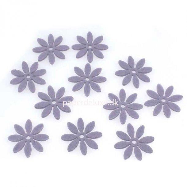 Filt blomster, lilla mellem str., 18 stk.