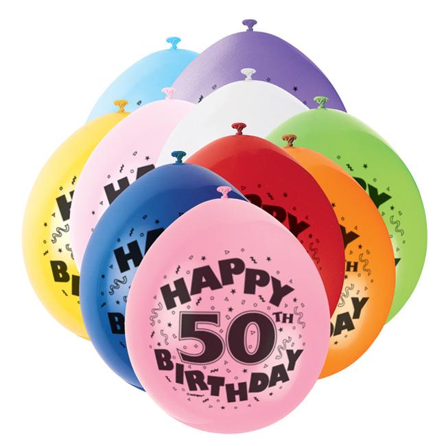 Hængeballoner - 50 års fødselsdag, 10 stk.