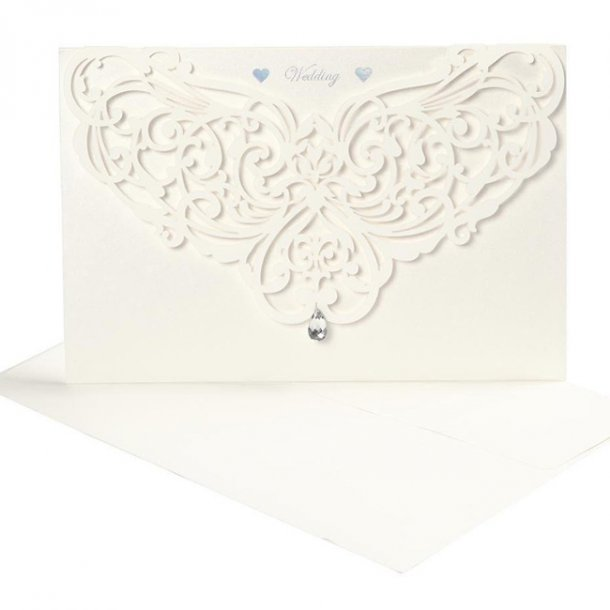 Bryllupsinvitation, kort/kuverter, lasercut, 5 stk.