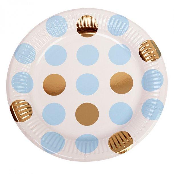 Paptallerkner, lyseblå/guld dots, 8 stk.