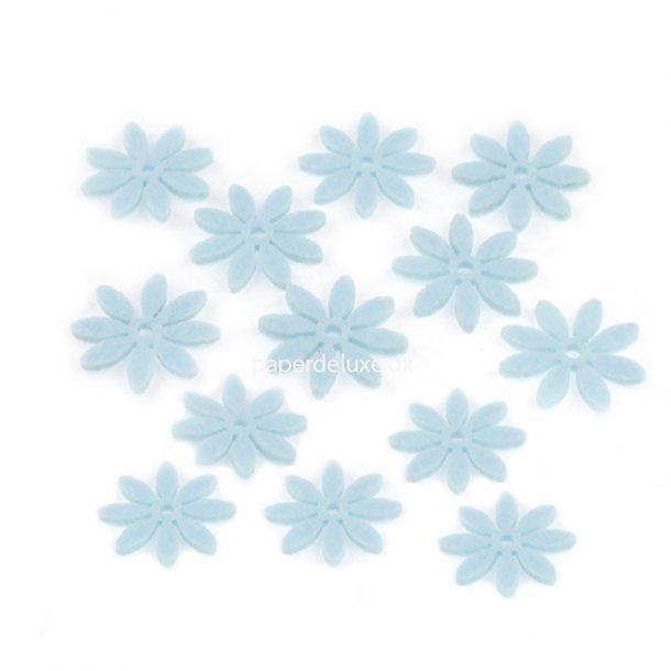 Filt blomster lyseblå mellem str. 18 stk.