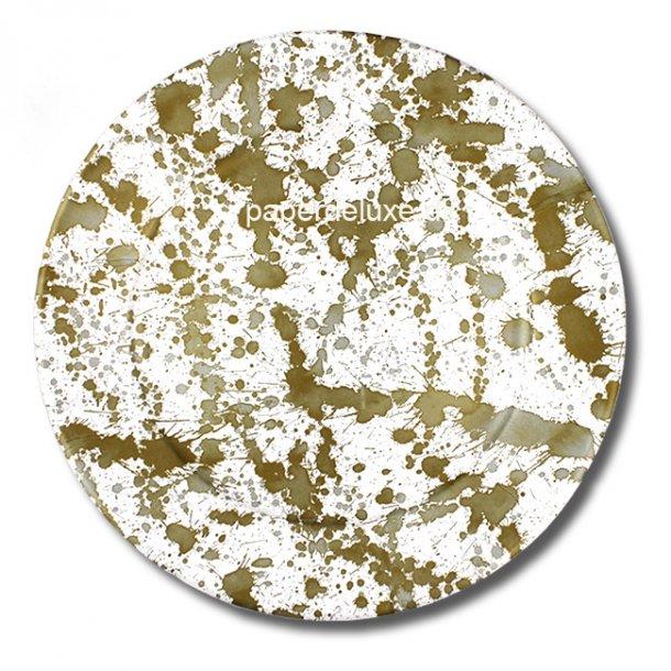 Paptallerkner fra Caspari, Splatterware Guld, Middag, 8 stk.