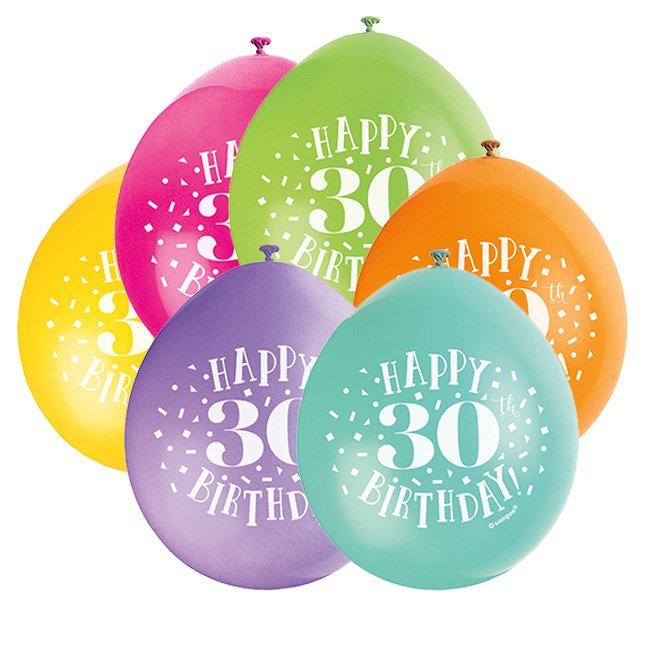 Hængeballoner - 30 års fødselsdag, 10 stk.