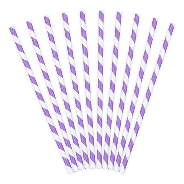 Sugerør med lilla/hvide striber, 10 stk