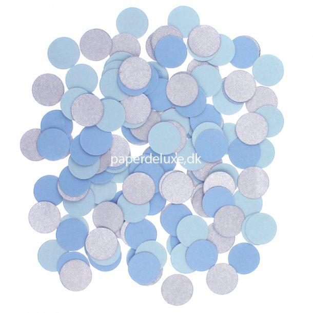 Konfetti cirkler, Sølv og lyseblå, 1 pose.