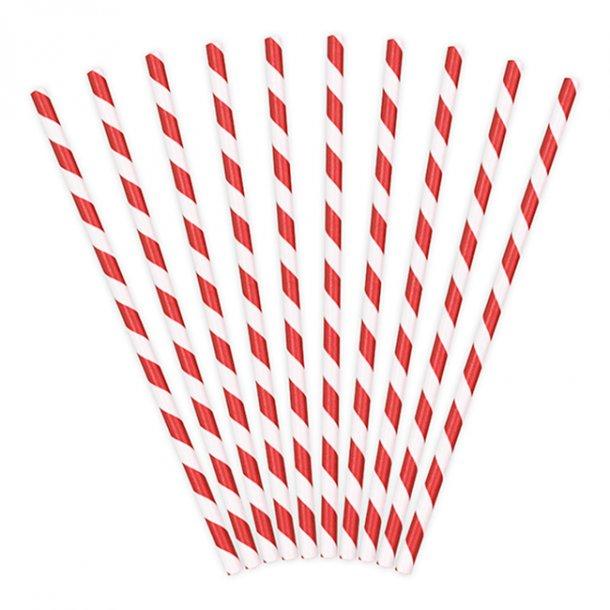 Sugerør med røde/hvide striber, 10 stk.