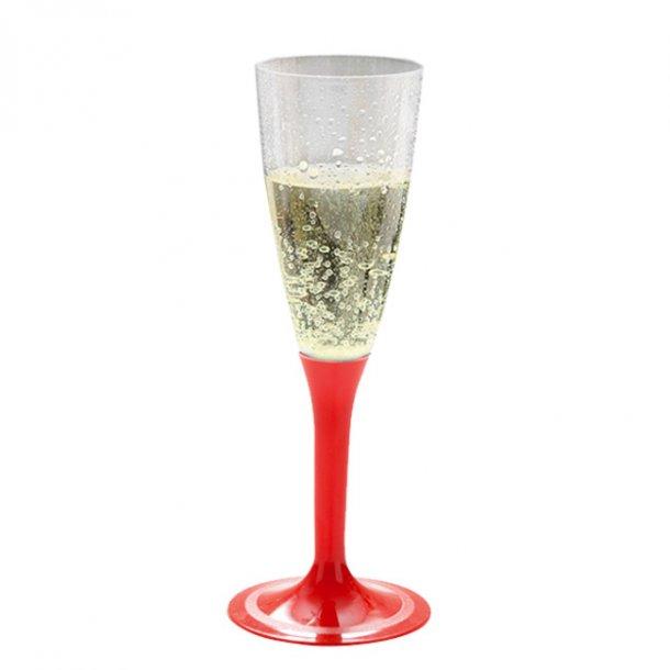 Engangs Champagneglas på rød fod, 20 stk.