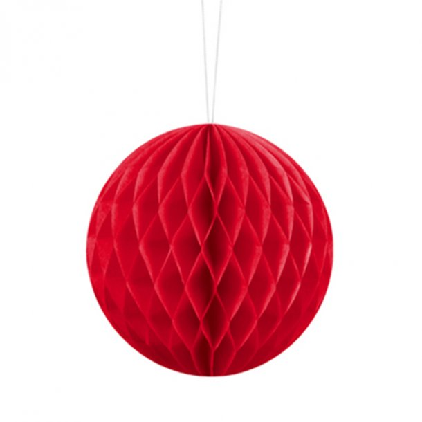 Pom pom/honeycomb, Rød, Ø20 cm.