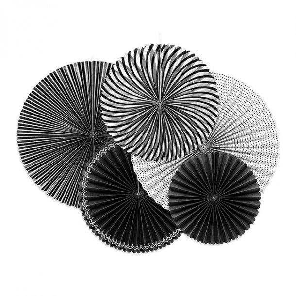 Rosetter med ophæng, sort/hvidt mix, 5-pak