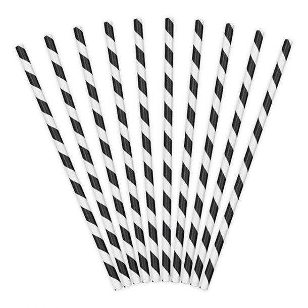 Sugerør med sort/hvide striber, 10 stk.