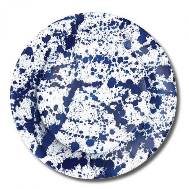 Paptallerkner fra Caspari, Forret/dessert, Splatterware blå, 8 stk.