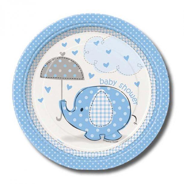 Baby shower paptallerkner dreng, 8 stk.