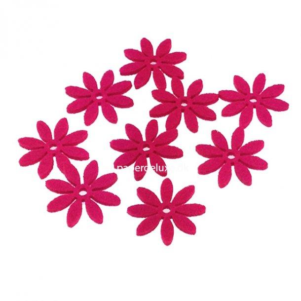 Filt blomster, pink mellem str, 18 stk.