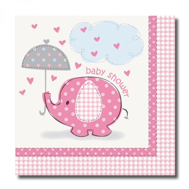 Baby shower servietter pige, 16 stk.