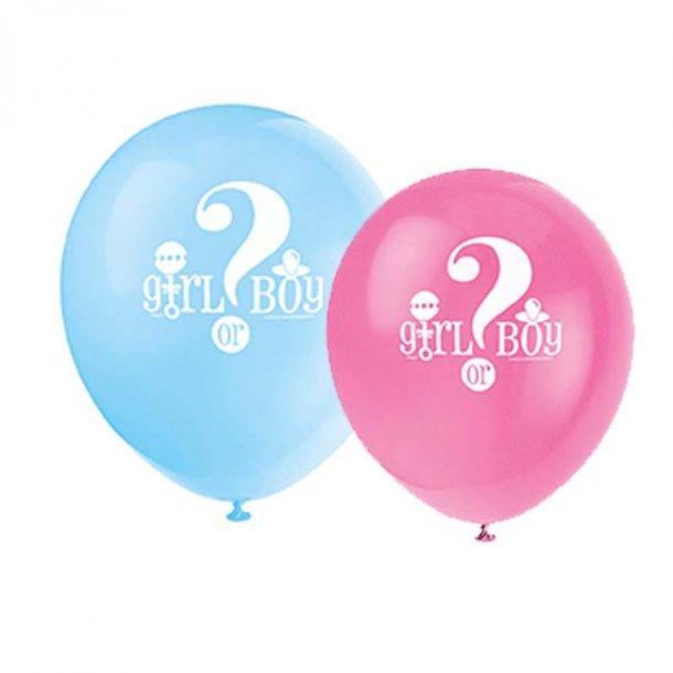 Balloner - 'Girl or boy?', 8 stk.