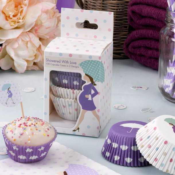 Baby shower, lilla dots, Cupcakes forme, 100 stk.