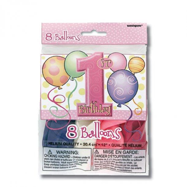 1 års fødselsdag, 8 stk. Balloner, Pige