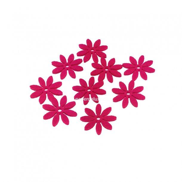 Filt blomster, pink lille str, 18 stk.