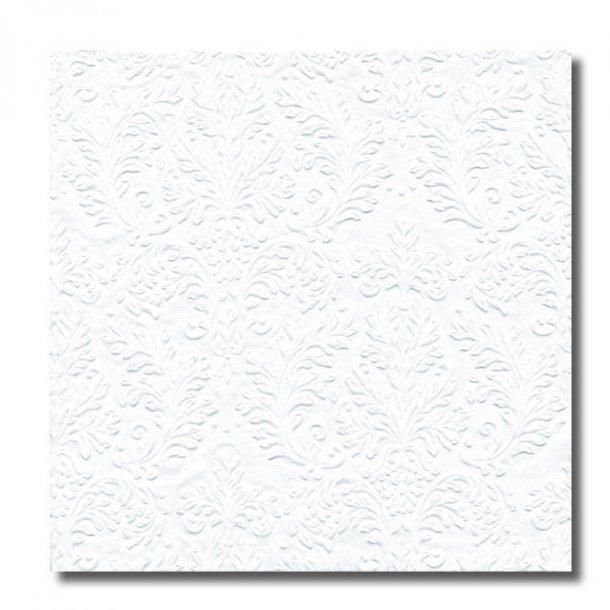 Ihr servietter embossed, Hvid, 16 stk.
