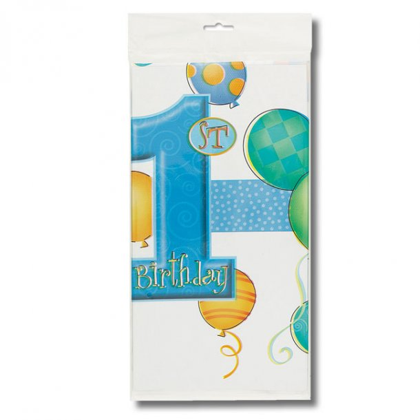 1 års Fødselsdag Plastikdug 137 x 213 cm - Dreng
