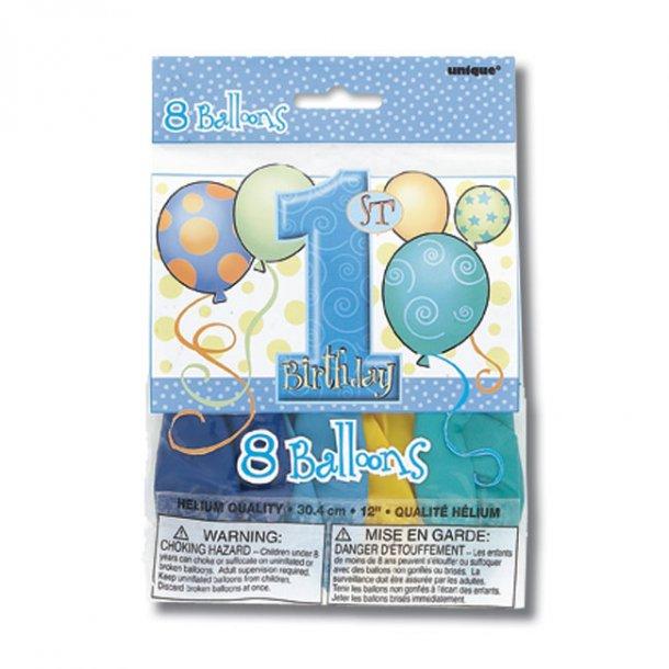 Balloner, 8 stk. - 1 års Fødselsdag, Dreng