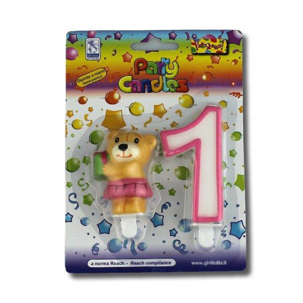 1 års fødselsdag/barnedåb kagelys, bamse pige