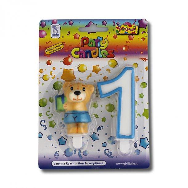 1 års fødselsdag/barnedåb kagelys, bamse dreng