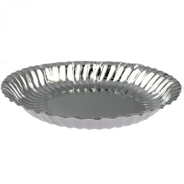 Engangs papskåle/tallerkner (stor) til chips mm, Sølv, 10 stk